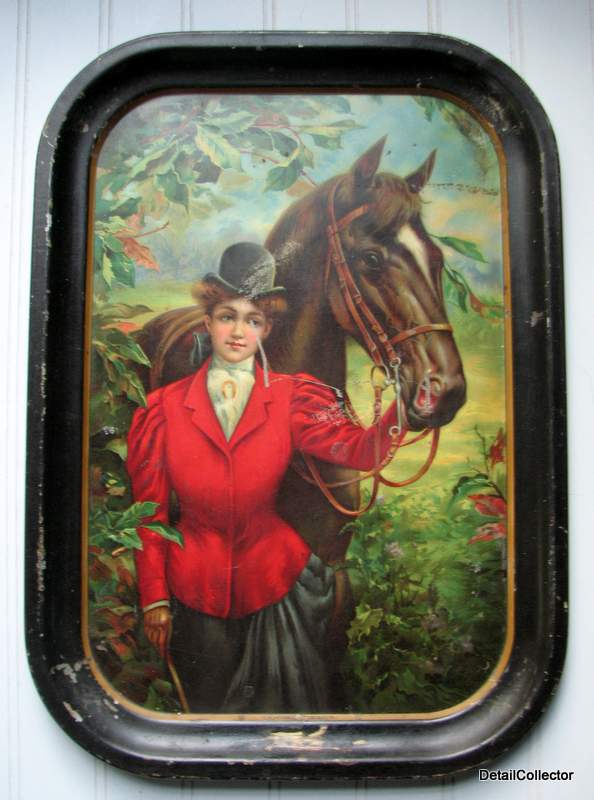 Antique Victorian BEER TRAY Good Friends Woman Horse Early 1900s Pre